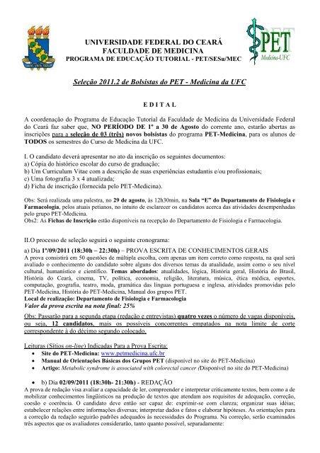 FACULDADE DE MEDICINA - Universidade Federal do Ceará