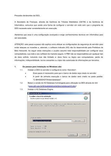 Procedimentos para instalação em rede – DES 3.0