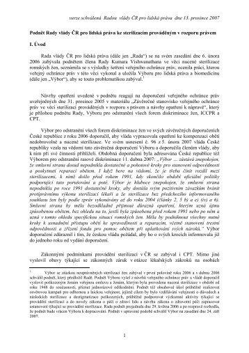 PODNĚT - Sterilizace prováděné v rozporu s právem - Vláda ČR
