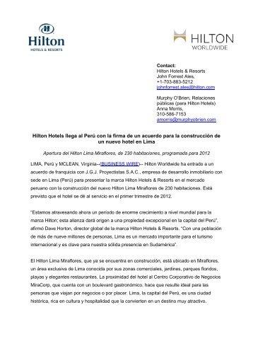 SPANISH: Hilton Hotels & Resorts llega al Perú con la firma de un ...