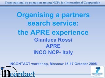 Support to partner search and partnering