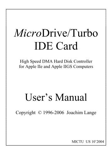 MicroDrive/Turbo IDE Card - The Ultimate Apple II Resource!