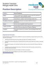 Position Description - Tasmania Medicare Local