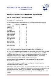 Protokoll Verbandstag 2012 - Badischer Schachverband