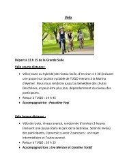 Départ à 13 h 15 de la Grande Salle Vélo courte distance ... - UQO