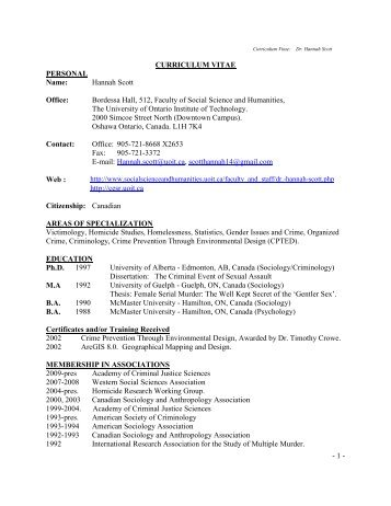 CURRICULUM VITAE - University of Ontario Institute of Technology