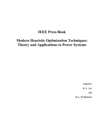 IEEE Press Book Modern Heuristic Optimization Techniques: Theory ...