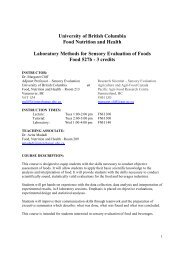 Food Nutrition and Health - courses.landfood.... - University of British ...