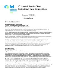 6 Annual Best in Class Invitational Case Competition - FEI Canada