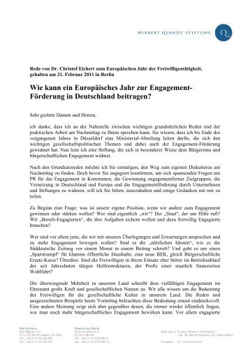 Wie kann ein Europäisches Jahr zur Engagement - Herbert-Quandt ...