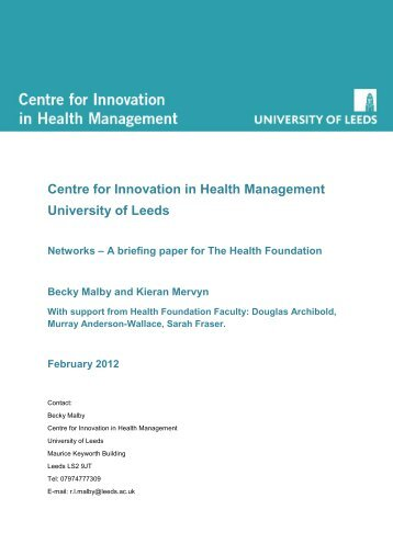 Networks - a briefing paper for the Health Foundation - Centre for ...