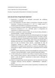 Lista de exercícios: Programação Seqüencial - Hudson Costa