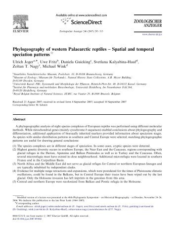 Phylogeography of western Palaearctic reptiles – Spatial and - Lacerta
