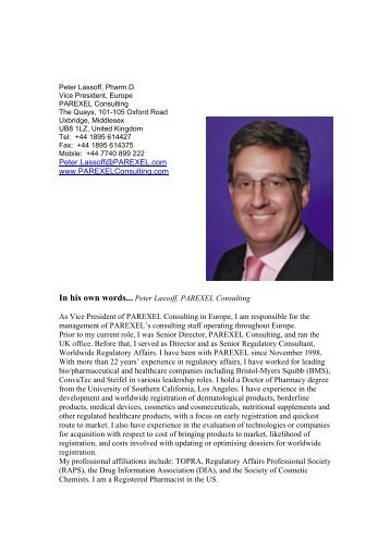 In his own words... Dr Peter Lassoff, Vice President ... - TOPRA