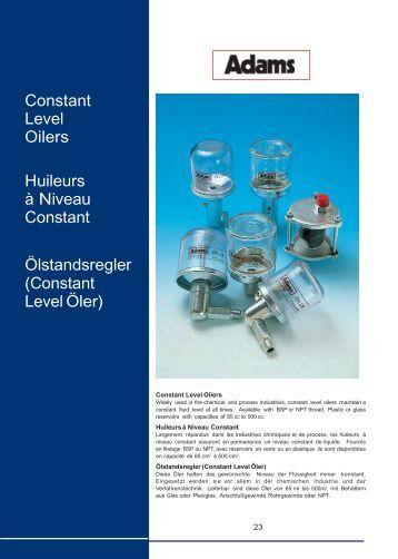 Constant Level Oilers Huileurs à Niveau Constant Ölstandsregler ...
