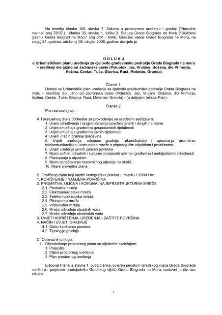 (KOSA ISTOK I ZAPAD)-Odluka o UPU - Grad Biograd na Moru