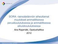 SORA –lainsäädännön aiheuttamat muutokset ... - Edu.fi