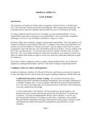 Southwest Airlines Co. Code of Ethics - Thecorporatelibrary.net