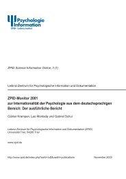 ZPID-Monitor 2001 zur Internationalität der Psychologie aus dem ...