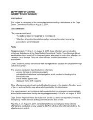 Disturbance at CBCF August 3, 2011 - Government of Nova Scotia