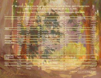 1st biannual glenna hartmann invitational fine art exhibition friday ...