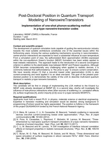 Post-Doctoral Position in Quantum Transport Modeling of ... - IEMN