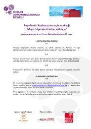 Regulamin konkursu - Forum Odpowiedzialnego Biznesu