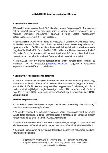 QuickDASH Scoring Instructions_ Hungarian - Institute for Work ...