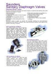 Saunders Sanitary Diaphragm Valves - Process Valve Solutions Ltd