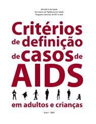 Critérios de definição de casos de Aids em adultos e Crianças