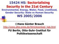 Opening powerpoint presentation by H.G. Brauch, 21 November 2005