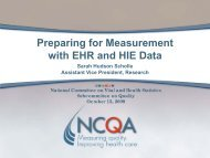 Preparing for Measurement with EHR and HIE Data - National ...