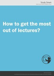 How to get the most out of lectures? - The University of Hong Kong