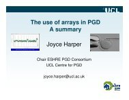 The use of arrays in PGD A summary Joyce Harper - eshre