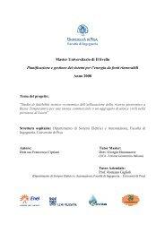 Master Universitario di II livello Pianificazione e gestione dei sistemi ...