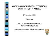 water management institutions (wmi) in south africa - INBO