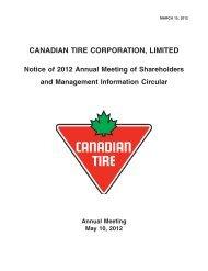 Management Information Circular - Canadian Tire Corporation