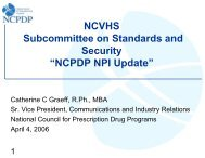 "NCVHS Subcommittee on Standards and Security ""NCPDP NPI ..."