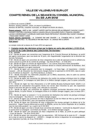 Séance du 22 juin 2012 - Villeneuve sur Lot