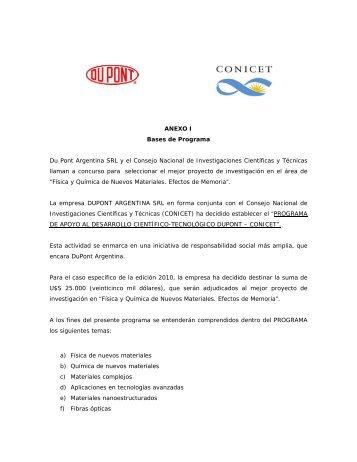 ANEXO I Bases de Programa Du Pont Argentina SRL y el Consejo ...