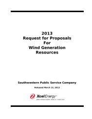SPS 2013 Wind Generation RFP - Xcel Energy