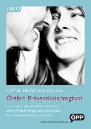 Sjutton frågor och svar om Örebro Preventionsprogram