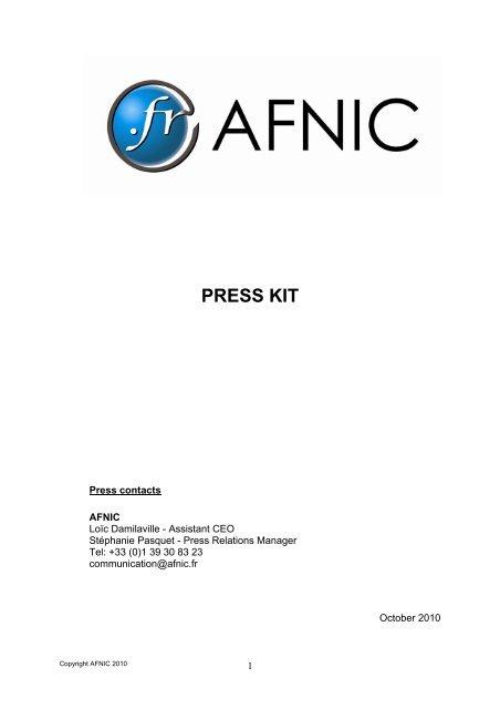 Press Kit - Afnic