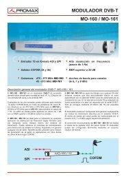 Modulador DVB-T - MO-160 / MO-161 - Promax