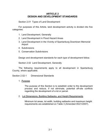 article 2 design and development standards - Spartanburg County