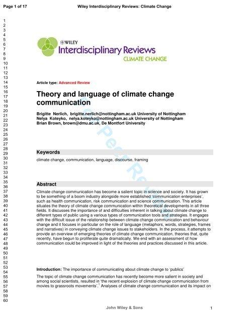 For Peer Review - Nottingham ePrints - University of Nottingham
