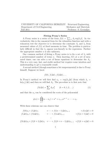 Fitting Prony series and Prony's Method - Civil and Environmental ...