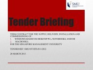 Tender Briefing 2013 - Singapore Management University