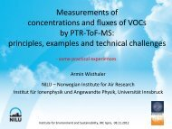 Measurements of concentrations and fluxes of VOCs by PTR-ToF-MS