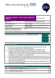 Social Enterprise - West London Mental Health NHS Trust
